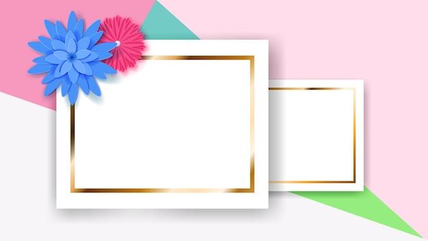 Plano de fundo de duas molduras retangulares brancas com tiras douradas e flores de papel coloridas