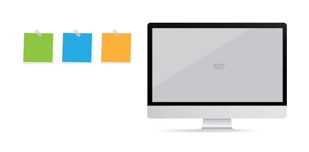 Plano de fundo de exibição de computador com área de tela em branco e stick de papel. ilustração vetorial.