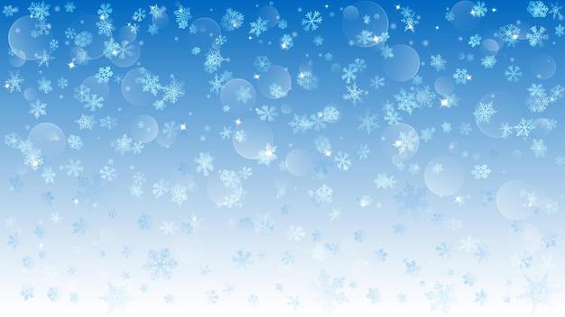 Plano de fundo de flocos de neve brancos caindo sobre fundo azul claro