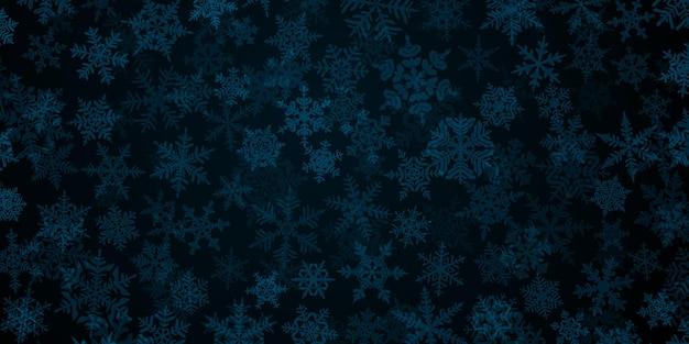 Plano de fundo de flocos de neve de natal translúcidos complexos em cores azuis escuras. ilustração de inverno com neve caindo