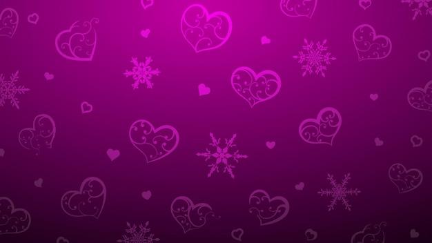 Plano de fundo de flocos de neve e corações com enfeite de cachos, em cores roxas