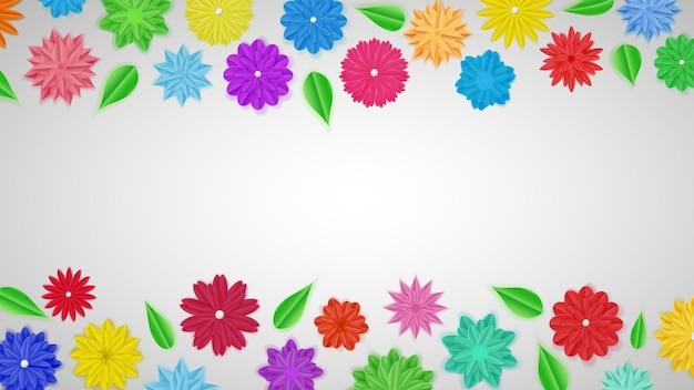 Plano de fundo de flores de papel coloridas com sombras