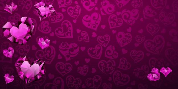Plano de fundo de grandes, pequenos e vários corações de cristal nas cores roxas. ilustração no dia dos namorados