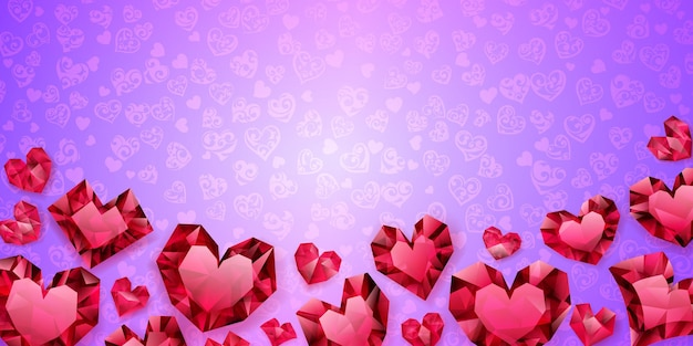 Plano de fundo de grandes, pequenos e vários corações de cristal, vermelho em roxo claro. ilustração no dia dos namorados
