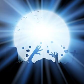 Plano de fundo de halloween com zumbis saindo do chão contra o céu iluminado pela lua