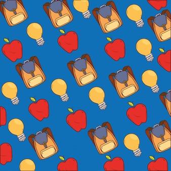 Plano de fundo de mochilas escolares com maçãs e lâmpadas