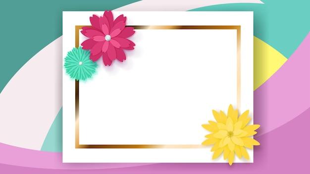 Plano de fundo de moldura retangular branca com faixa dourada e flores de papel coloridas
