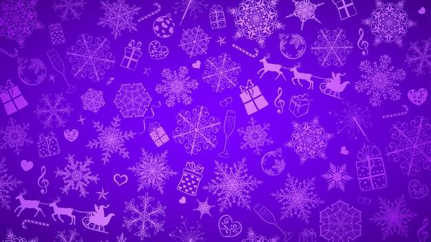 Plano de fundo de natal com flocos de neve grandes e pequenos e vários símbolos de natal, branco sobre roxo