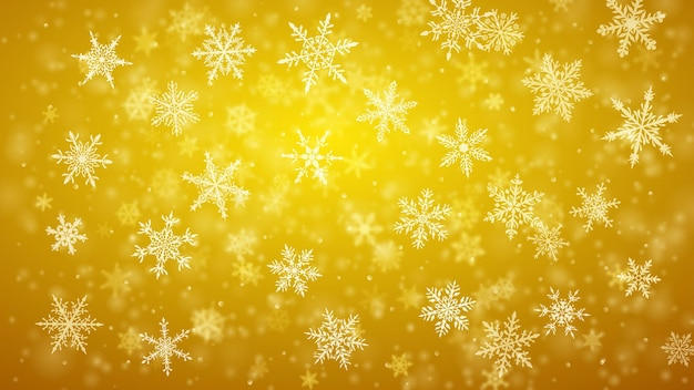 Plano de fundo de natal de complexos flocos de neve caindo nítidos e desfocados em cores amarelas com efeito bokeh