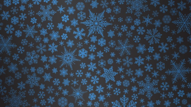 Plano de fundo de natal de flocos de neve grandes e pequenos em cores azuis escuras