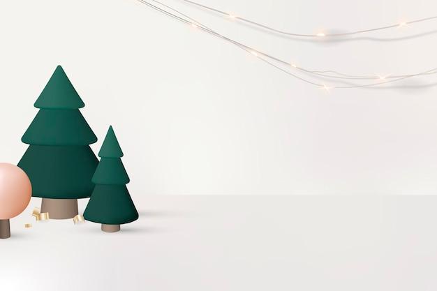 Plano de fundo de natal, design 3d festivo, vetor de saudações da temporada
