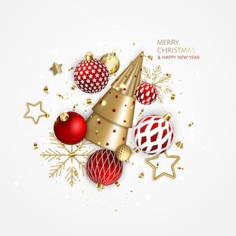 Plano de fundo de natal e ano novo. composição de férias de inverno brilhante. cartão de felicitações, banner, pôster
