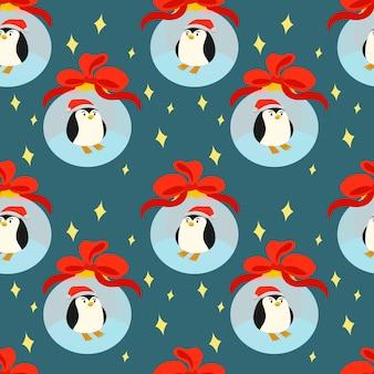 Plano de fundo de natal sem costura com um pequeno pinguim em uma bola de vidro de natal