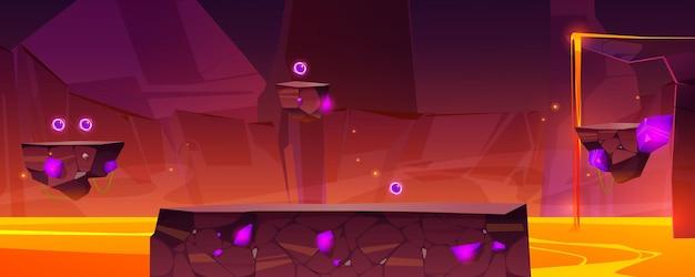 Plano de fundo de nível de jogo com plataformas sobre lava