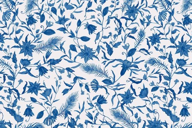 Plano de fundo de padrão floral com ilustração de flores azuis em aquarela