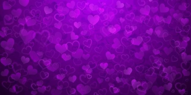 Plano de fundo de pequenos corações translúcidos em cores roxas. ilustração do dia dos namorados