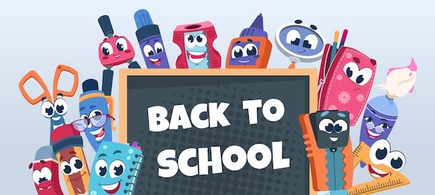Plano de fundo de personagens da escola. materiais educacionais bonitos com caras engraçadas. ilustração em vetor livro feliz caderno lápis e caneta no banner