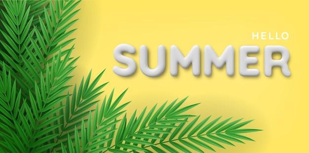 Plano de fundo de plantas tropicais e inscrição de verão branco 3d