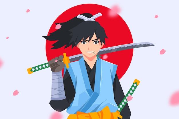 Plano de fundo de samurai de design plano