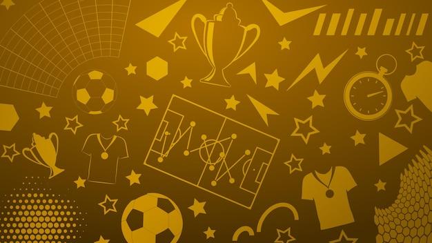 Plano de fundo de símbolos de futebol ou futebol em cores amarelas Vetor Premium