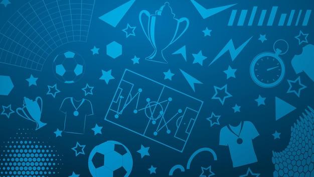 Plano de fundo de símbolos de futebol ou futebol em cores azuis