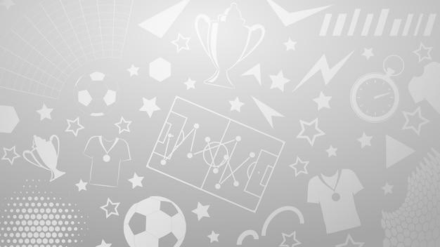 Plano de fundo de símbolos de futebol ou futebol em cores cinza