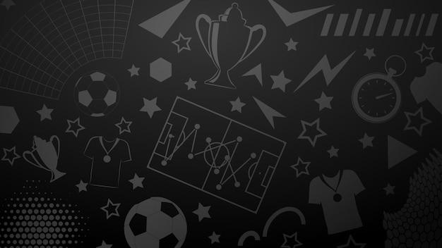 Plano de fundo de símbolos de futebol ou futebol em cores pretas