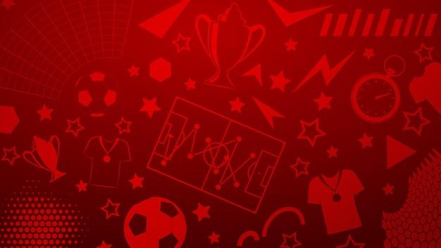 Plano de fundo de símbolos de futebol ou futebol em cores vermelhas