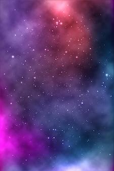 Plano de fundo de um espaço infinito com estrelas, galáxias, nebulosas. manchas de óleo brilhantes e borrões com pontos brancos