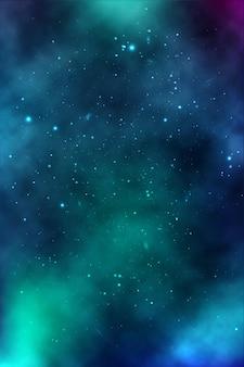 Plano de fundo de um espaço infinito com estrelas, galáxias, nebulosas. manchas de óleo brilhantes e borrões com pontos brancos Vetor Premium