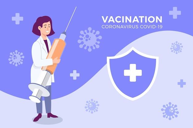 Plano de fundo de vacina contra coronavírus dos desenhos animados