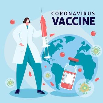 Plano de fundo de vacina de coronavírus desenhado à mão plana
