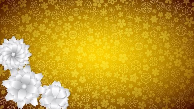 Plano de fundo de várias flores pequenas em cores amarelas com várias flores grandes de papel branco