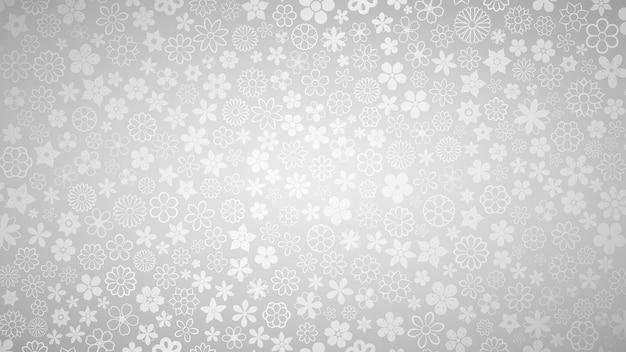 Plano de fundo de várias flores pequenas em cores cinza