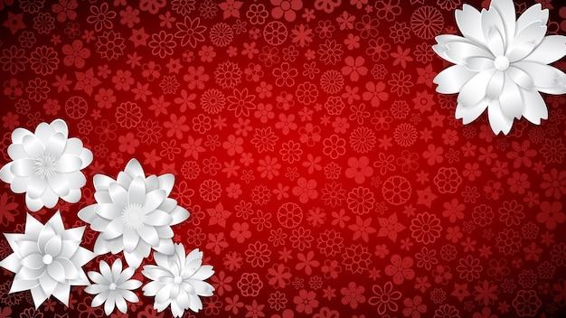 Plano de fundo de várias flores pequenas em cores vermelhas com várias flores grandes de papel branco