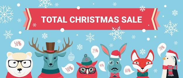 Plano de fundo de venda de natal, ofertas de desconto com animais fofos da floresta de desenho animado definido
