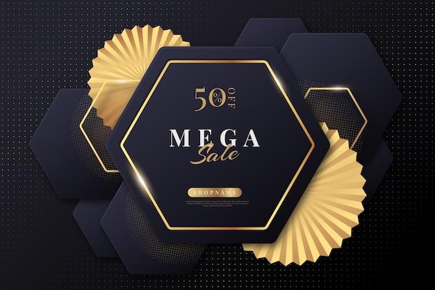 Plano de fundo de vendas criativo com detalhes dourados