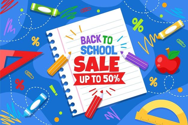 Plano de fundo de vendas de volta para a escola