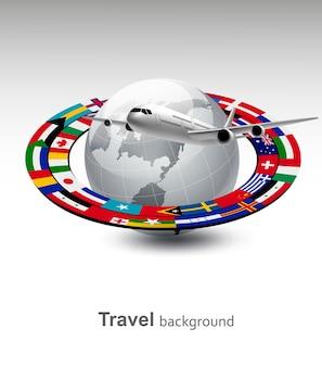Plano de fundo de viagens. globo com um avião e uma faixa de bandeiras.