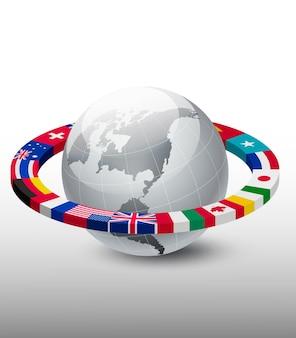 Plano de fundo de viagens. globo com uma faixa de bandeiras.