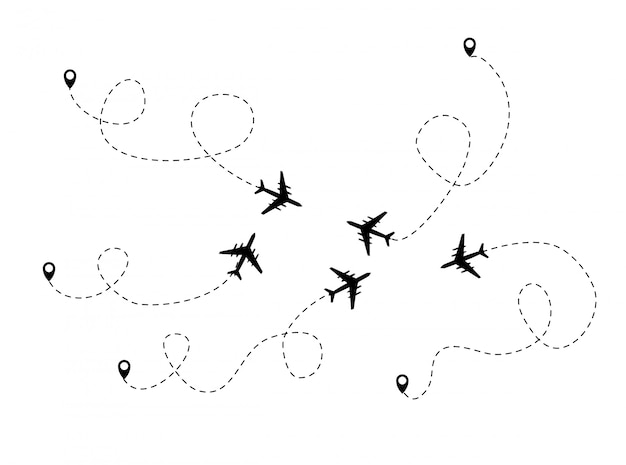 Plano de fundo de voo pontilhado de avião. ilustração vetorial