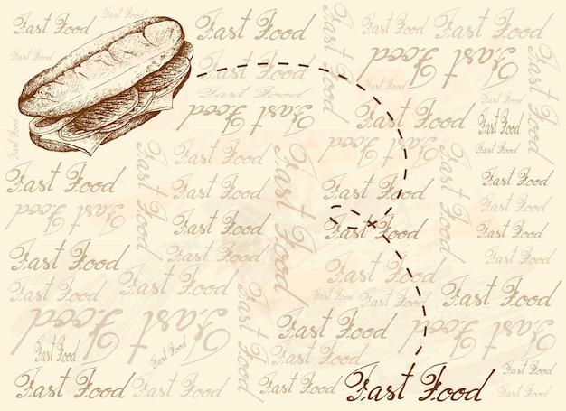 Plano de fundo desenhado à mão de sanduíche de queijo philly