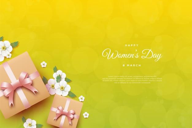 Plano de fundo dia da mulher com caixas de presente em fundo amarelo.