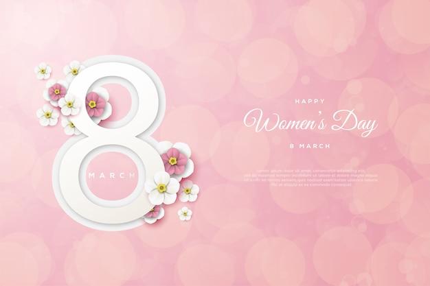 Plano de fundo dia da mulher com números e flores em fundo rosa.