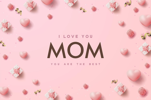 Plano de fundo dia das mães com caixas de presente e balões cor de rosa espalhados.