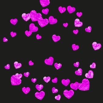 Plano de fundo dia das mães com confete de glitter rosa. símbolo do coração isolado na cor rosa. cartão postal para plano de fundo do dia das mães. tema de amor para convite de festa, oferta de varejo e anúncio. feriado feminino