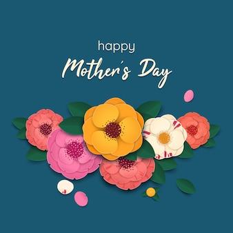 Plano de fundo dia das mães com flores coloridas de camélia em estilo de corte de papel. ilustração