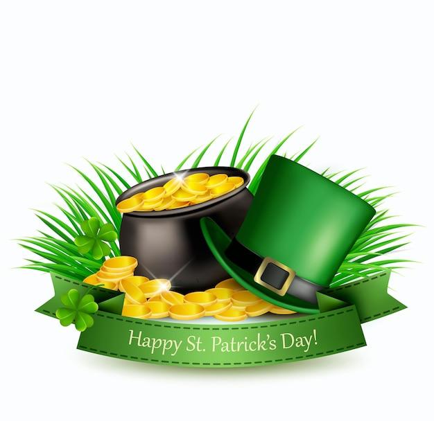 Plano de fundo dia de são patrício com um chapéu verde e moedas de ouro em um caldeirão. ilustração vetorial.