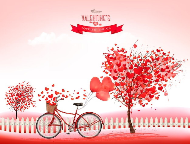 Plano de fundo dia dos namorados com árvores em forma de coração e uma bicicleta.