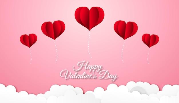 Plano de fundo dia dos namorados com balões de coração sobre as nuvens